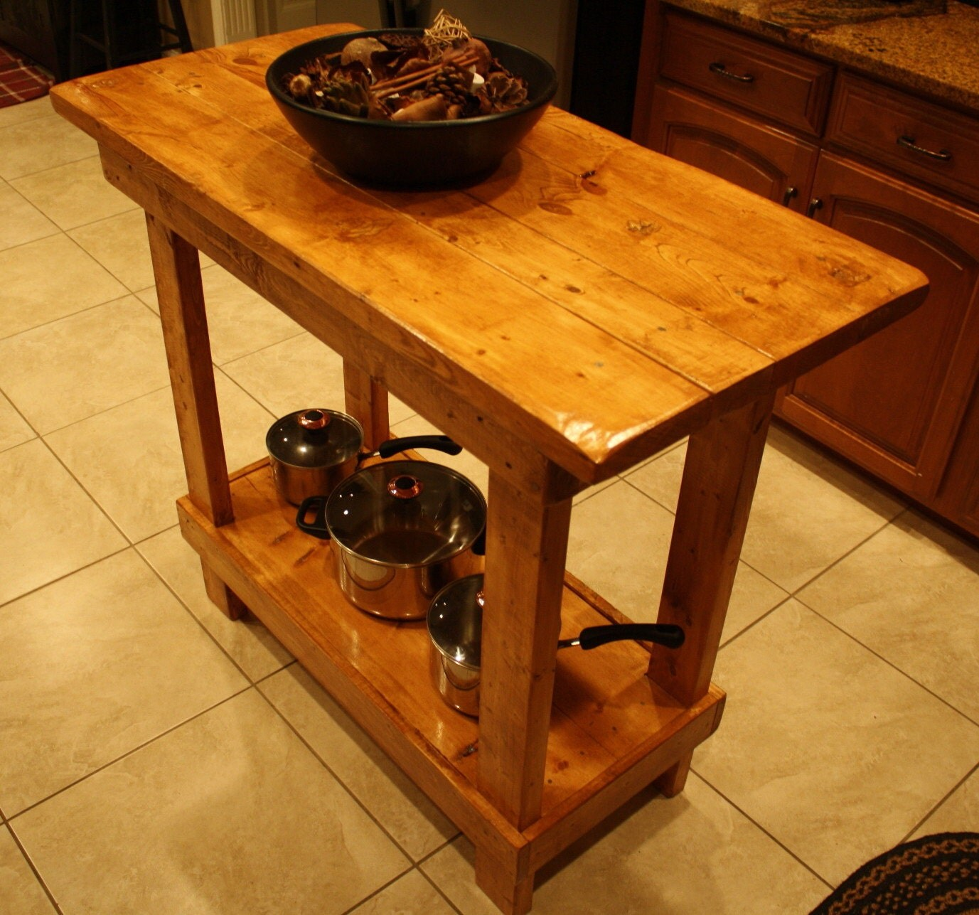 Multi Stained Reclaimed Table In Kitchen