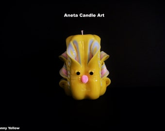 Easter Bunny, Carved candles 5 inch