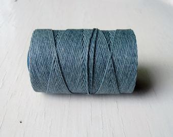 Slate Grey Irish waxed linen cord 4ply (10 yards) - slate grey irish linen cord, grey linen cord, 4 ply irish linen thread, uk irish linen