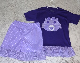 Girls Ruffled Top, and Ruffled Bottoms, Owl Design, Size 6-8,,,,