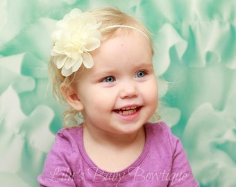 Baby Headband - Ivory Cream Shabby Chiffon Flower on Skinny Elastic - Newborn, Infant, Toddler Girl Headband and Photo Prop