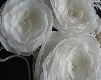 Ivory hair flowers 2 inch ivory flower 3 ivory hair flower Ivory flower Ivory headpiece Wedding ivory flower Ivory flower clip Ivory bridal