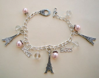Eiffel Tower bracelet, silver Paris charms, pink glass pearl beads
