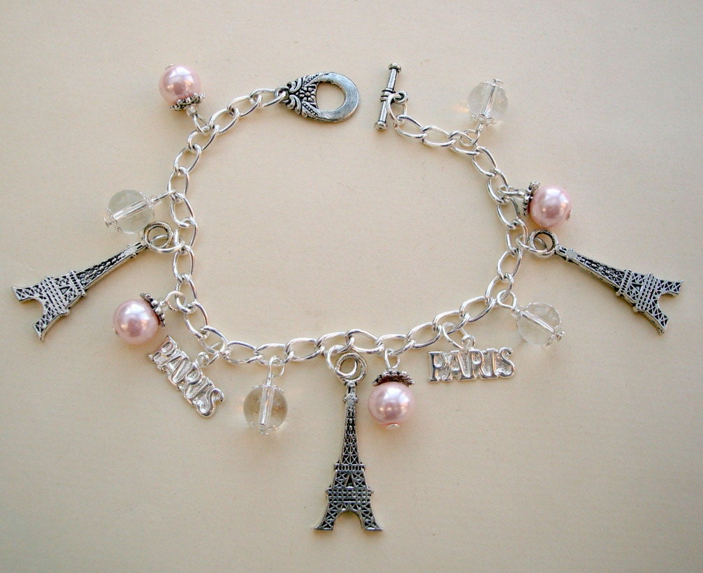 eiffel tower bracelet silver charms pink glass pearl