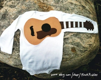 """Baby clothes- Amazing """"Acoustic Guitar"""" baby guitar bodysuit"""