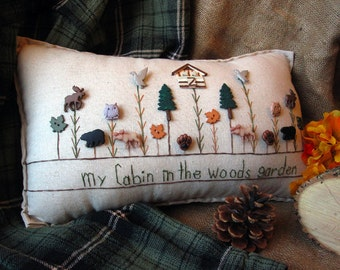 My Cabin in the Woods Garden Pillow (Cottage Style)