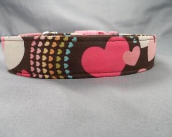 Hearts and Rainbows on Chocolate Brown Dog Collar