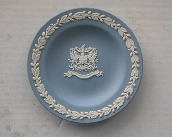 1980s Wedgwood Blue Jasperware Plate - City of London