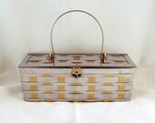 Rockabilly Metal Basketweave Box Purse Goldtone Silvertone - GrapenutGlitzJewelry