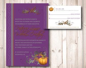Printable Celtic Pumpkin Wedding Invitations & RSVP
