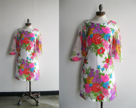 1960s Psychedelic Hawaiian Pink Purple Green Floral Print Mini Dress with Sheer Bell Sleeves