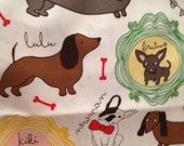 """LARGE BLANKET, Doggie Dog, Doxie Dachshund,, by Robert Kaufman with soft velvet MINKY smooth back, size 35"""" x 44"""""""