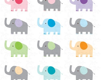 Elephant Clip Art , Cute baby elephant, colorful Elephant baby perfect for Scrapbook, Cards, Invitations,Personal and Commercial Use Am010