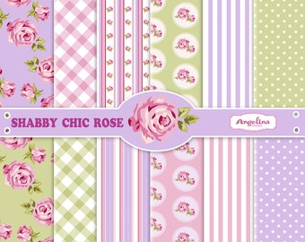 12 Shabby Chic Rose. Vioelet Green Digital Scrapbook Papers. 4 vector images in 1 EPS for invites card making digital scrapbooking