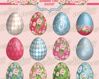 3D Shabby Chic Easter Eggs. Digital Clip Art for Scrapbooking, invites, card making.