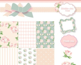 Shabby Chic Digital Scrapbook Paper Pack Pink and Blue. Papers, Frames and Roses Clip Art.