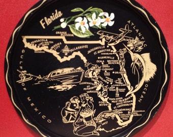 1960s Florida State Metal Souvenir Tray