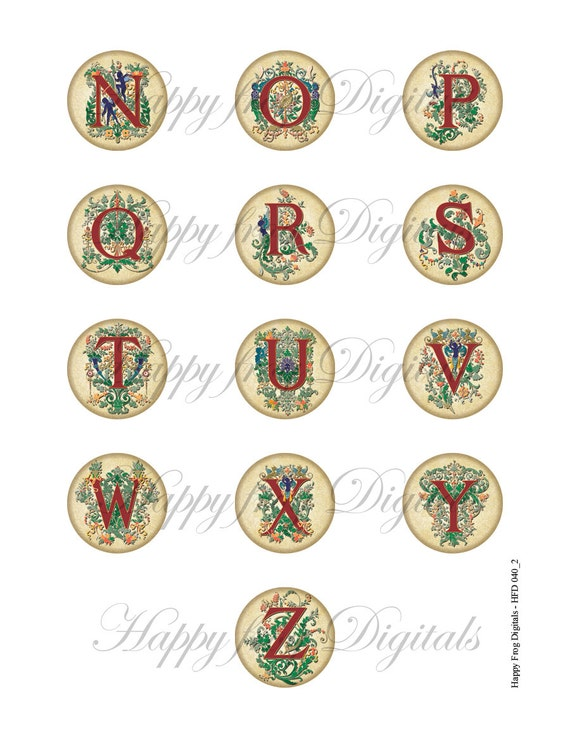 Decorative Alphabet 1 5 Quot 1 Quot 25 Mm 30 Mm Circles