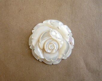 Mother Of Pearl Carved Rose Pendant
