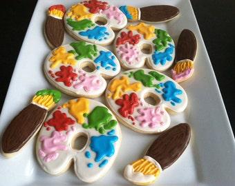 Artist Palette Decorated Sugar Cookies