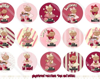 Gingerbread Valentines 1 Inch Circles Collage Sheet for Bottle Caps, Hair Bows, Scrapbooks, Crafts, Jewelry & More