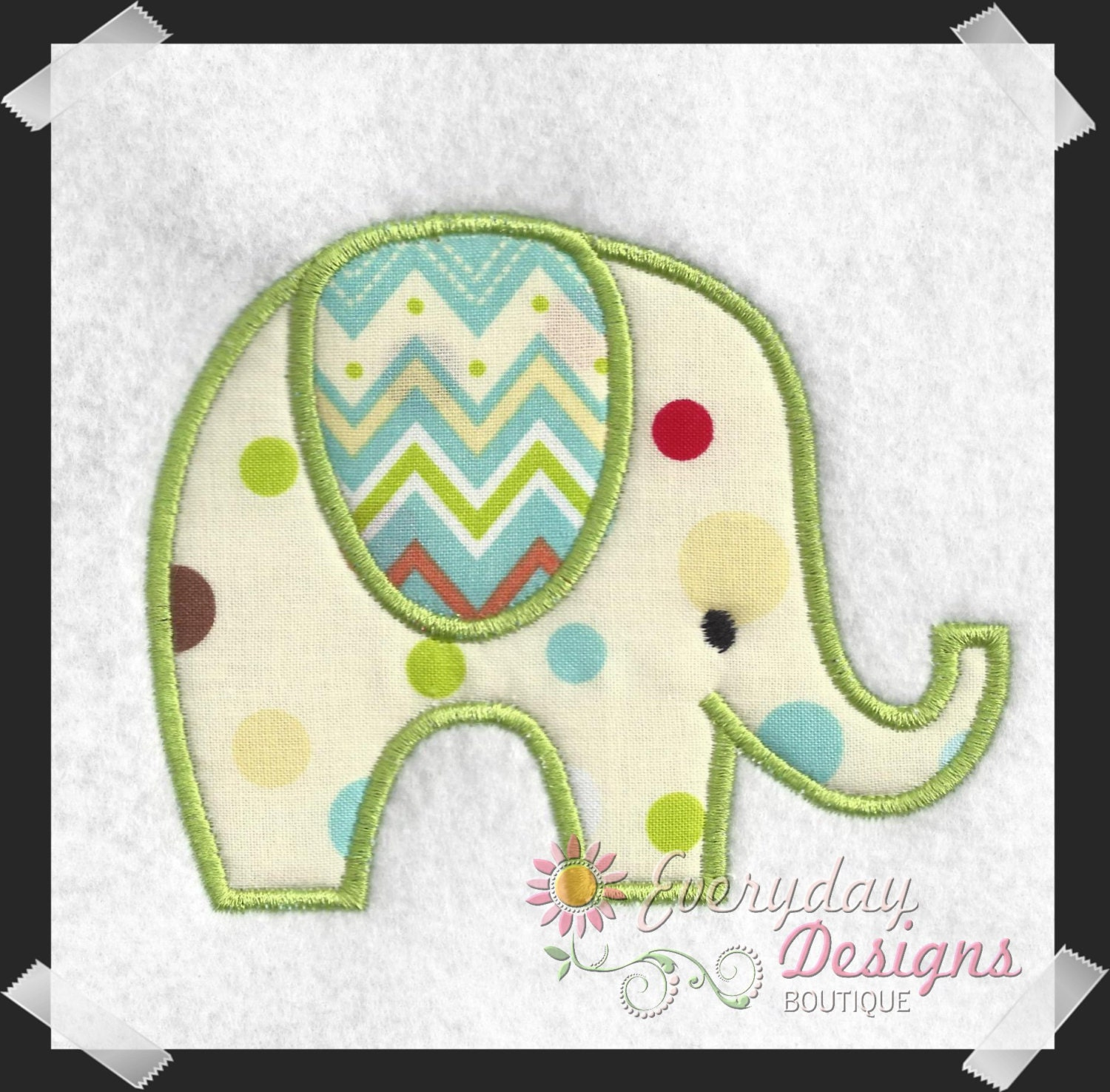 Elephant applique machine embroidery by everydaydesignsb
