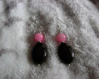 Black Agate Dangle Earrings