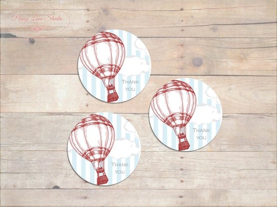 Balloon Tag: Vintage Hot Air Balloon Thank You Tags Boys By