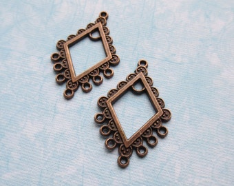 Vintage Style Diamond 1 to 7 Copper Chandelier Links, 6 Pieces - Item 2094