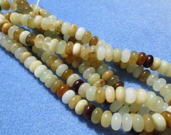 Flower Jade Rondelle Beads, 1 Strand - Item 173