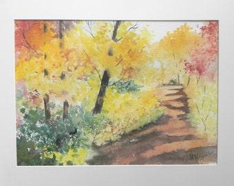 Original Watercolor Painting, Fall Scene along a Walking Path