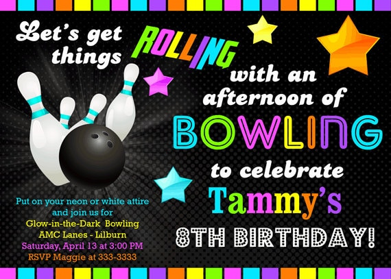 Bowling Glow in the Dark Neon Birthday Party by PartyPopInvites