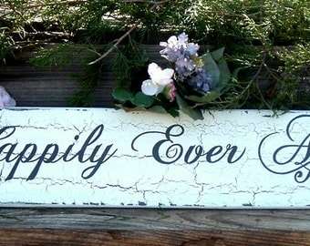 Happily Ever After Wedding Sign Rustic Wedding Sign Custom Wedding Sign