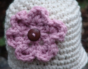 Handmade Crochet Chunky Beanie Hat in Cream with Pink Flower and Button Center