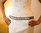 Feminine Wedding Crystal Beaded Satin Sash, Bridal Belt, Rhinestone Sash - Nour Belt