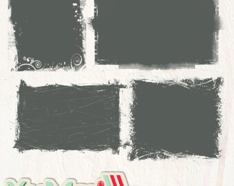 INSTANT DOWNLOAD psd photoshop edge frame set - clipping masks grunge - set of 4 frames -- E001 - design elements