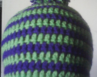 Striped Lime Green and Purple Beanie