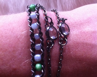 Blue and Green Beaded Woven Chain Wrap Bracelet