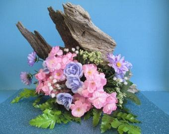 Driftwood floral centerpiece with summer silkflowers ooak
