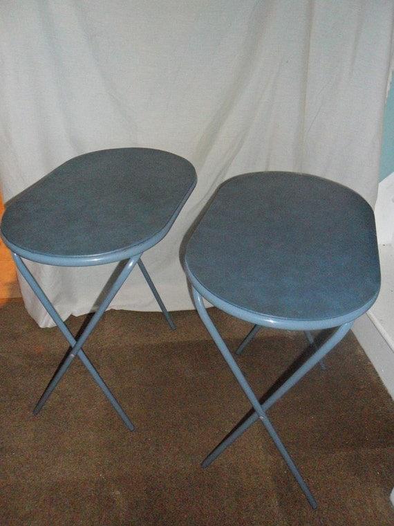 Vintage Cosco Blue Oval TV Tray Tables By WierdandWonderful