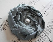 Rolled Grayed Jade Fabric Rosette Brooch, Pin, Hat, Clothes, SCarf, Bag, Shabby chic, Corsage