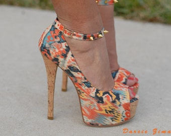 Ikat Tribal gold spiked platform High Heels