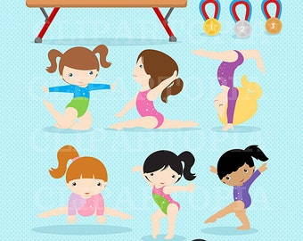 Gymnastics Clipart / Girls Gymnastics Cute Digital Clipart / For Personal and Commercial Use