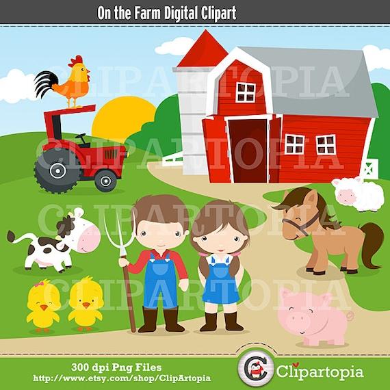 Farm Digital Clipart Barnyard Clipart Farm Animals For