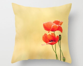 """Throw Pillow Cover - Together  - 16""""x16"""" inch Photography - 100% SpunPolyester - Poppy Flower Floral Red Love Nature Beige"""