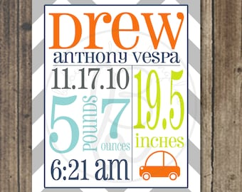 11x14 personalized childrens artwork: birth announcement, customizable, you choose colors and accent shape
