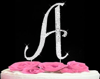 Large Rhinestone Crystal Monogram Letter  A  Wedding Cake Topper 5 inches high