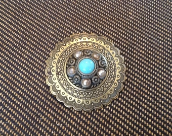 Vintage Victorian Brass and Turquoise Brooch