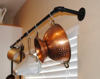 Industrial pot rack, plumbing pipe repurposed industrial decor, Kitchen decor, pot holder