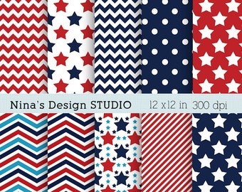 50% SALE INSTANT DOWNLOAD/  4th of July digital scrapbook papers  for Personal and Commercial use/ Scrapbooking